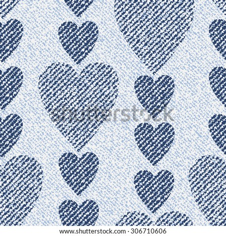 Jeans Background With Hearts Vector Denim Seamless Pattern Light Blue Cloth