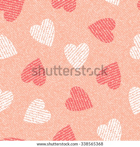 Jeans background with hearts. Vector Denim seamless pattern. Pink jeans cloth.
