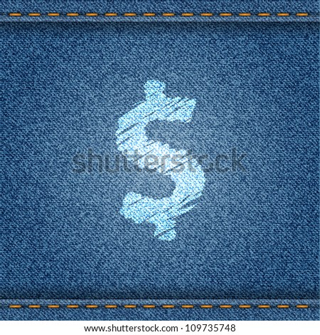 Jeans banner with dollar symbol. Vector eps10 illustration. - stock vector