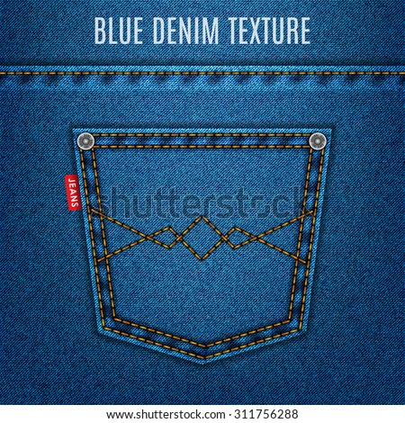 jeans blue texture fabric with pocket denim background. stock vector illustration eps10 - stock vector