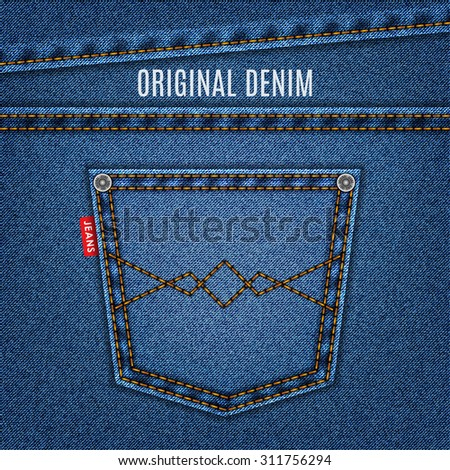 jeans blue texture with pocket denim background. stock vector illustration eps10 - stock vector