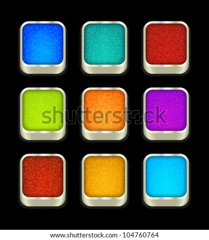 Jeans buttons on black, vector, 10eps. - stock vector