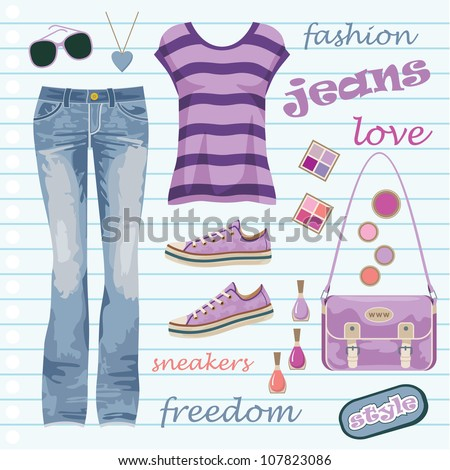 Jeans fashion set. vector