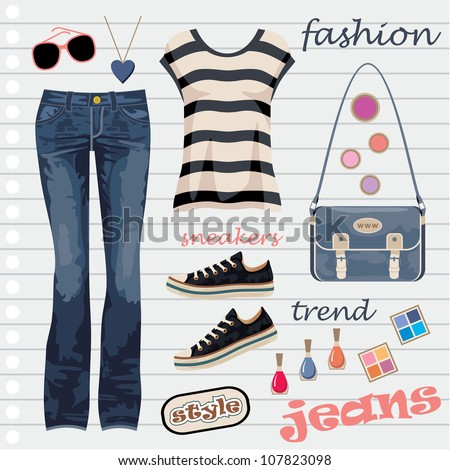 Jeans fashion set. vector - stock vector
