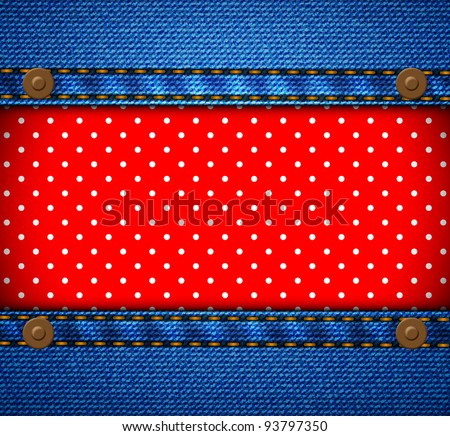 Jeans frame with polka dot patch - stock vector