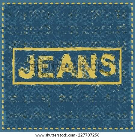 jeans grunge background vector design template - stock vector