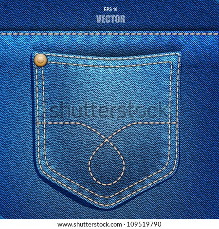 Jeans pocket. Denim background. Vector EPS 10. - stock vector