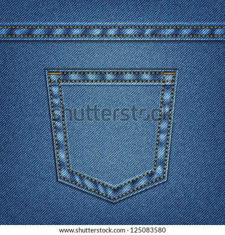 Jeans pocket in vector EPS 10. Web page background. - stock vector