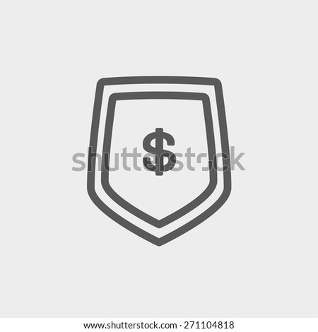 Jeans pocket with dollar symbol icon thin line for web and mobile, modern minimalistic flat design. Vector dark grey icon on light grey background. - stock vector