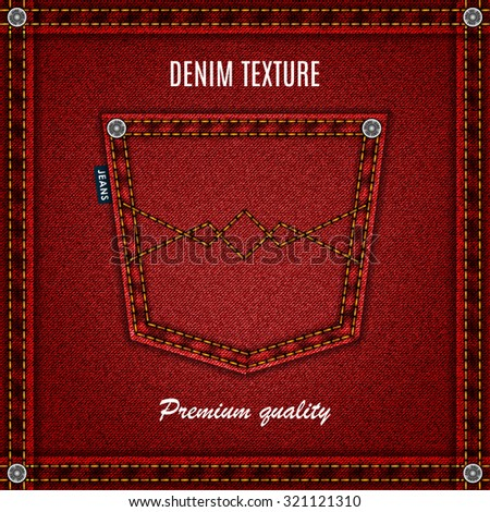 jeans red texture with pocket denim background. stock vector illustration eps10 - stock vector