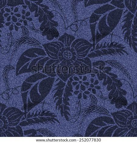 Jeans seamless background with printed black flowers. Denim dark blue pattern. Vector illustration. - stock vector