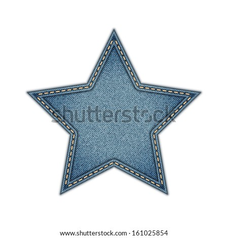 Jeans Tag Star Isolated on White background. Eps10 - stock vector