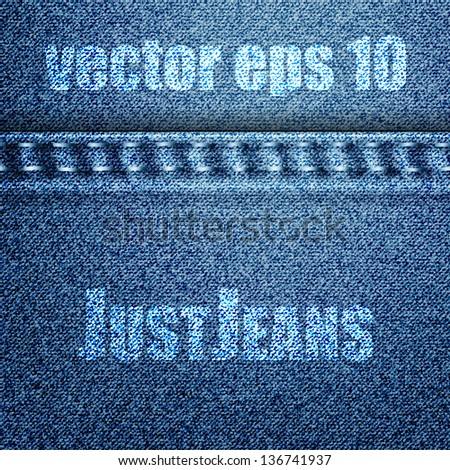 Jeans texture with pocket. Vector eps 10