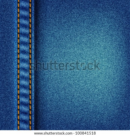 Jeans texture with stitch. Fabric blue denim background vector eps10 illustration. Raster file included in portfolio - stock vector