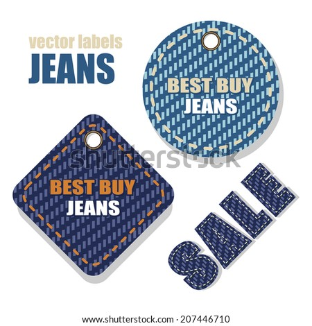 Jeans vector labels with information about the sale. - stock vector