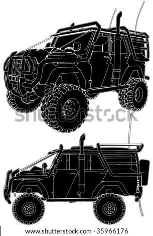 Jeep Offroad Car Vector 04 - stock vector
