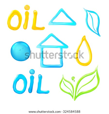 Jelly figures on white background. Oil liquid text on a white background. Gel flower icon. Blue house of drop water.   Vector illustration. - stock vector