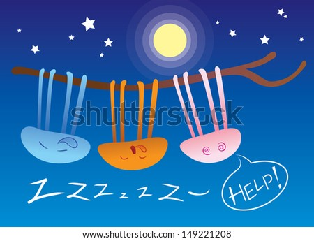 Jellyfish and its snoring partners hang on the branches with blue moonlight background - stock vector