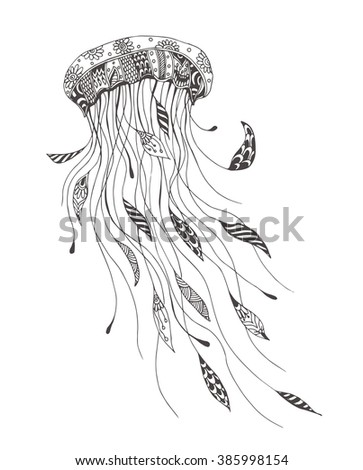 Jellyfish with ethnic doodle pattern. Coloring page - zendala, design for spiritual relaxation for adults, vector illustration, isolated on a white background. Zen doodles. - stock vector