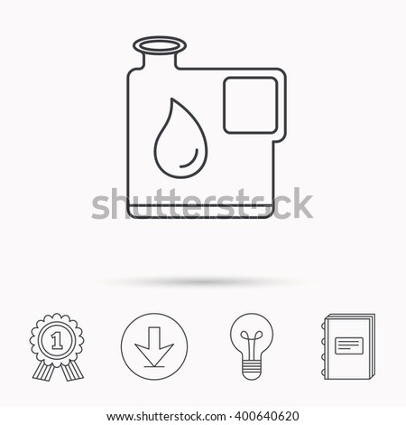 Jerrycan icon. Petrol fuel can with drop sign. Download arrow, lamp, learn book and award medal icons. - stock vector