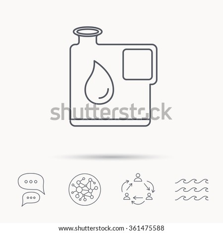 Jerrycan icon. Petrol fuel can with drop sign. Global connect network, ocean wave and chat dialog icons. Teamwork symbol. - stock vector