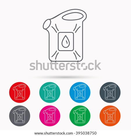 Jerrycan icon. Petrol fuel can with drop sign. Linear icons in circles on white background. - stock vector