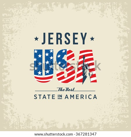 Jersey best state in America, white, vintage vector illustration