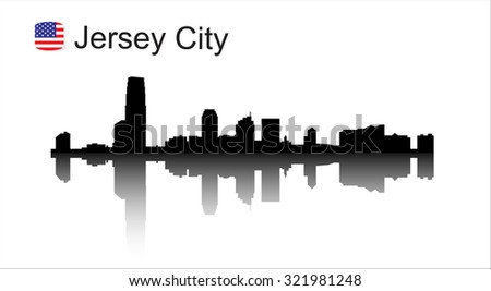 Jersey city New Jersey skyline silhouette. Vector illustration