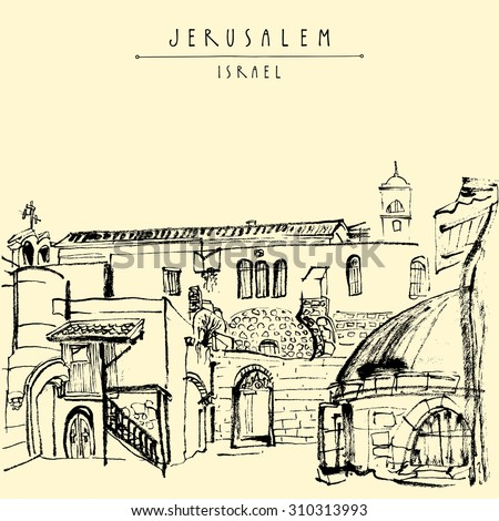 "Jerusalem, Israel. Handmade brush ink drawing isolated in vector. Touristic postcard, poster, calendar or coloring book page. Freehand travel sketch background with ""Jerusalem Israel"" hand lettering"