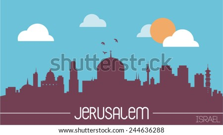 Jerusalem Israel skyline silhouette flat design vector illustration - stock vector