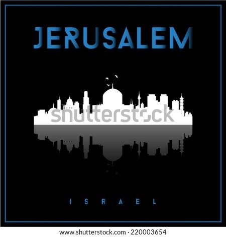 Jerusalem, Israel skyline silhouette vector design on parliament blue and black background. - stock vector