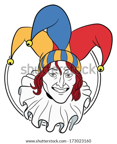 Jester face in a circle - stock vector
