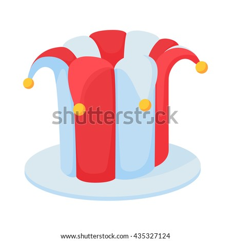 Jester hat icon in cartoon style - stock vector