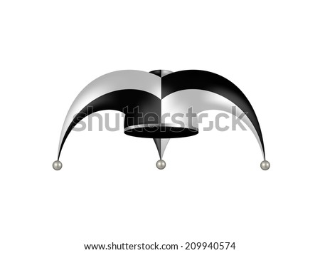 Jester hat in black and white design  - stock vector