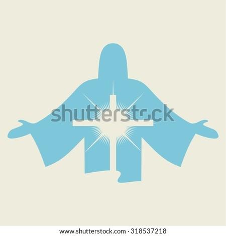 Jesus and cross icon - stock vector