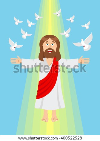Jesus and pigeons. Ascension of Jesus Christ. Son of God in heaven. Resurrection. Bible character. Yellow divine ray of light  - stock vector