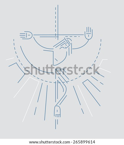 Jesus at the Cross  Hand drawn vector illustration or drawing of Jesus Christ at the Cross - stock vector