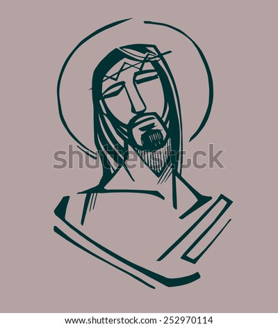 Jesus at the Passion  Hand drawn vector illustration or drawing of Jesus Christ at the Passion - stock vector