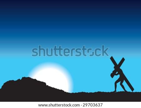 jesus carries cross - stock vector