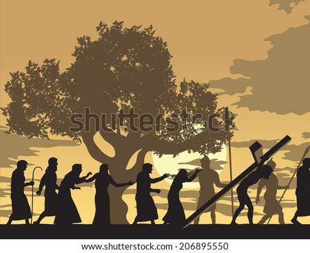 Jesus Carries Cross Jesus carries the cross trough town with people mourning and following Him. - stock vector