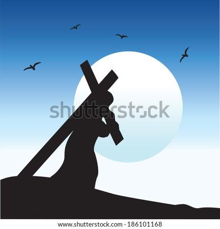 Jesus carrying His cross - stock vector