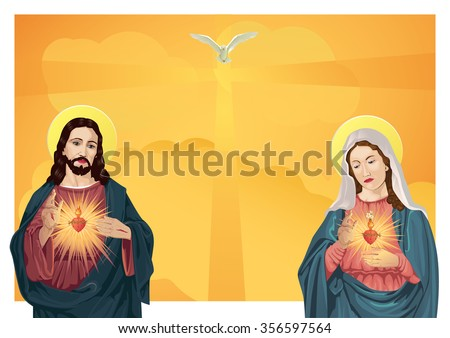 Jesus Christ and Blessed Virgin Mary - stock vector