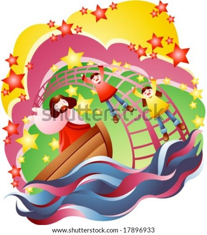 Jesus Christ and Happy Christian - with smiling young children on background of beautiful colorful sky: vector illustration