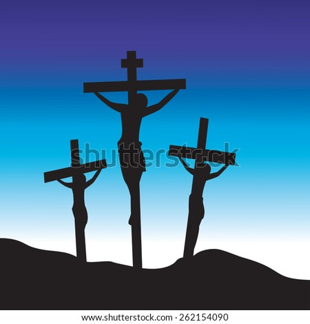 Jesus Christ at Calvary. Crucifixion. Good Friday. - stock vector