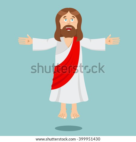 Jesus Christ Cheerful. Son of God. biblical character Jesus of Nazareth. Christian and Catholic character. Holy man  - stock vector