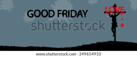 Jesus Christ crucifixion.Good Friday-time line cover - stock vector
