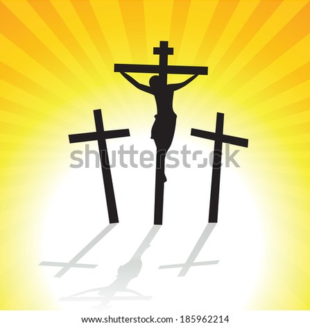 Jesus Christ Crucifixion. Vector illustration of three crosses silhouette with shadow. - stock vector