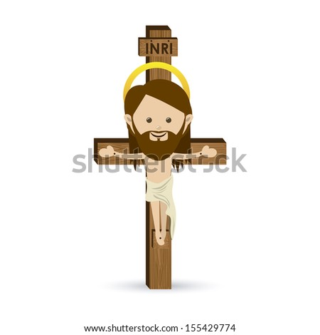 jesus christ design over white background vector illustration - stock vector