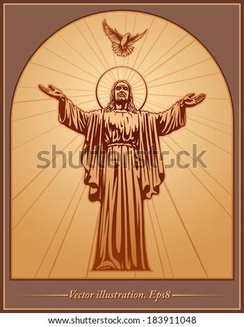 Jesus Christ, holy Spirit, blessing, Dove, Christianity, vector - stock vector