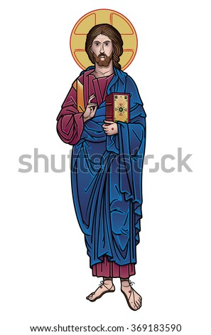 Jesus Christ icon color - stock vector